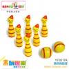 木玩世家供应木制益智玩具  黄色保龄球