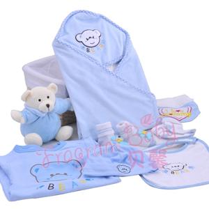 九件套礼篮(蓝色) 宝宝礼盒