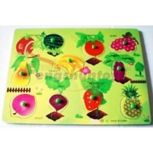 木制玩具/早教必备/婴童玩具/水果认识/智力拼图/水果拼图