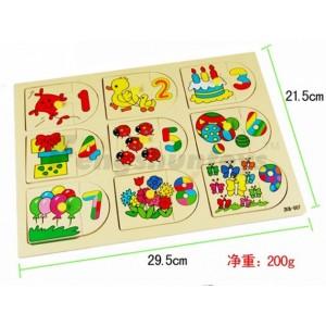 木制玩具/儿童益智拼图玩具/颜色数字动物认知/趣味认知拼图