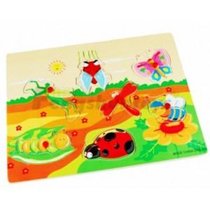 木制玩具批发\益智拼图玩具\动物形状认知\学习教育\昆虫拼图