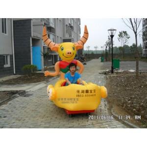 充气电瓶车彩灯花轿充气游乐车儿童公园气模电瓶车电瓶玩具充气车