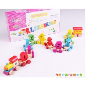 木制玩具批发 儿童益智玩具车模型 趣味数字列车