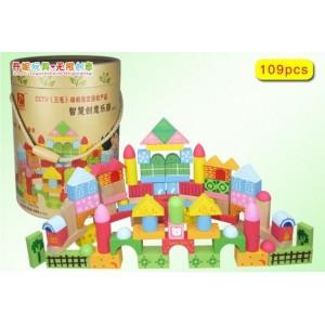 积木玩具 桶装木制积木 益智玩具  智慧创意乐园积木