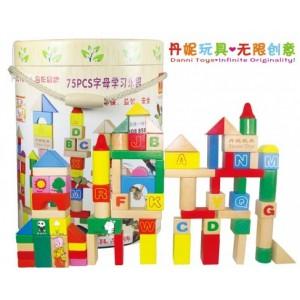 木制玩具 积木玩具DIY75PCS字母学习乐园 益智玩具批发