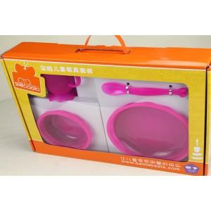 塑料PP儿童餐具-梅红色