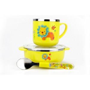 防烫耐摔不锈钢儿童餐具-黄色狮子