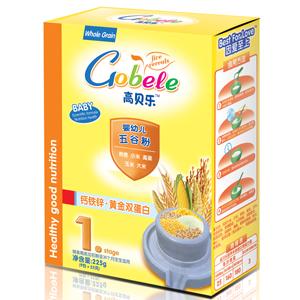 高贝乐五谷粉1段钙铁锌 · 黄金双蛋白(盒装)全国招商