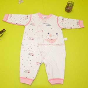 小印象冬款连体哈衣凌形空气层印花婴儿内衣