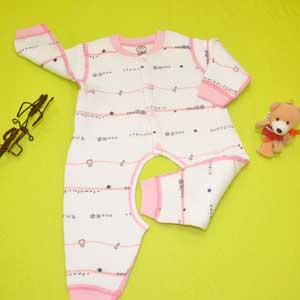 小印象冬款连体哈衣空气层印花婴儿内衣