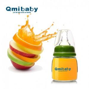 Qmibaby宝宝果汁玻璃小奶瓶新生婴儿迷你高硼硅玻璃奶瓶