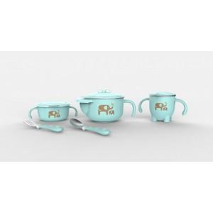 316儿童餐具 婴儿不锈钢防摔碗吸盘碗辅食碗勺套装 宝宝餐具